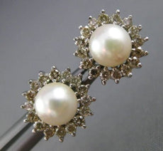 ESTATE .64CT DIAMOND & AAA PEARL 14KT WHITE GOLD CLASSIC JACKET STUD EARRINGS