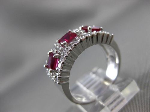 ANTIQUE WIDE 1.82CT DIAMOND & RUBY 14K WHITE GOLD WEDDING ANNIVERSARY RING 19518