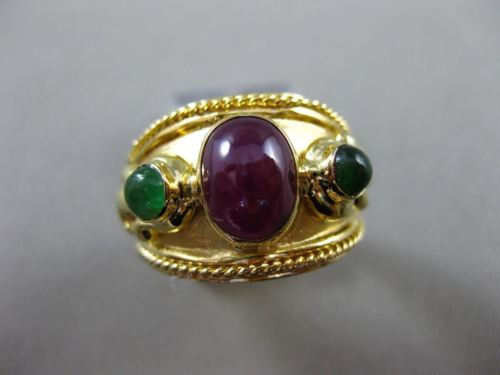 ANTIQUE LARGE 1.50CT AAA RUBY & EMERALD 14K YELLOW GOLD 3D FILIGREE 3 STONE RING