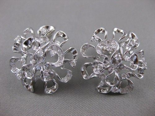 LARGE ESTATE .92CTW DIAMOND FLOWER CLUSTER 14K W GOLD EARRINGS 26MM F VVS #869
