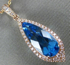 LARGE 3.12CT DIAMOND & AAA BLUE TOPAZ 14KT ROSE GOLD TEAR DROP FILIGREE PENDANT