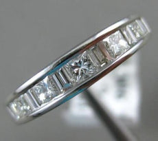 ESTATE .90CT PRINCESS & BAGUETTE DIAMOND 14KT WHITE GOLD ANNIVERSARY RING #1217