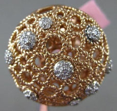 ESTATE EXTRA LARGE .50CT DIAMOND 14KT ROSE GOLD 3D FILIGREE ETOILE COCKTAIL RING