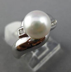 ESTATE .10CT DIAMOND & SOUTH SEA PEARL 14KT WHITE GOLD 3D CRISS CROSS LOVE RING