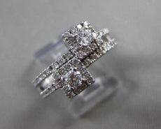 ANTIQUE WIDE .60CT ROUND DIAMOND 14KT WHITE GOLD SQUARE DOUBLE HALO RING #19430