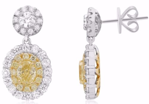 3.40CT WHITE & FANCY YELLOW DIAMOND 18K 2 TONE GOLD OVAL FLOWER HANGING EARRINGS