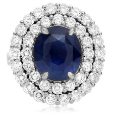 LARGE 12.19CT DIAMOND & AAA SAPPHIRE PLATINUM 3D COCKTAIL OVAL DOUBLE HALO RING