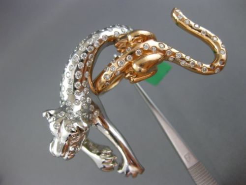 EXTRA LARGE 2.65CT DIAMOND 18KT WHITE & ROSE GOLD ETOILE TIGER THREE FINGER RING