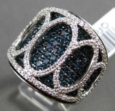 ESTATE LARGE 2.47CT BLUE & WHITE DIAMOND 18KT WHITE GOLD OVAL COCKTAIL RING