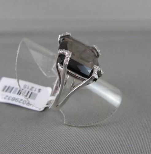 ANTIQUE 10.50CTW FANCY SHAPE SMOKEY TOPAZ DIAMOND 18KT WHITE GOLD RING