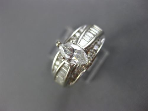 EXTRA WIDE 1.45CT ROUND & BAGUETTE DIAMOND 14KT WHITE GOLD 3D ENGAGEMENT RING