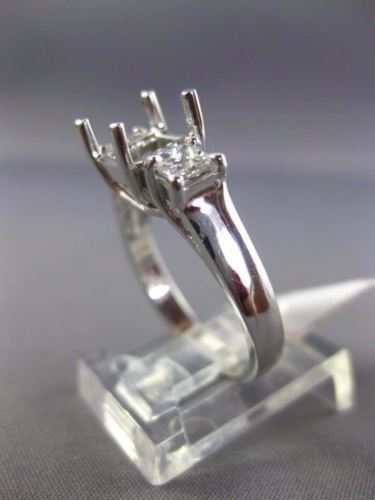 .50CT PRINCESS DIAMOND 14KT WHITE GOLD 3 STONE SEMI MOUNT ENGAGEMENT RING #2872