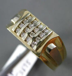 ESTATE LARGE .20CT DIAMOND 14KT WHITE & YELLOW GOLD 3D 16 STONE SQUARE MENS RING