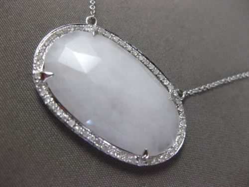 ANTIQUE LARGE 9.30CT DIAMOND & AAA WHITE AGATE 14KT WHITE GOLD OVAL NECKLACE