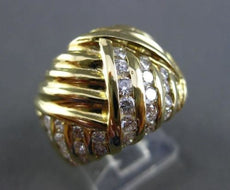 ESTATE LARGE 1.23CT ROUND DIAMOND 18KT YELLOW GOLD PYRAMID COCKTAIL RING #6349