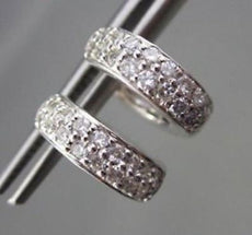 ESTATE WIDE .84CTW DIAMOND HUGGIES 14KT WHITE GOLD EARRINGS 4MM BEAUTIFUL! #1779