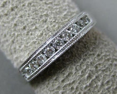 ESTATE .25CT DIAMOND 14K WHITE GOLD 3D CLASSIC 9 STONE MILGRAIN ANNIVERSARY RING