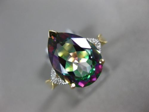 LARGE 5.04CT DIAMOND & AAA MYSTIC TOPAZ 14K YELLOW GOLD FILIGREE ENGAGEMENT RING