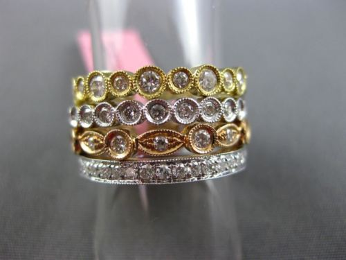 1.94CT DIAMOND 18KT TRI COLOR GOLD 3D ETERNITY FILIGREE MILGRAIN STACKABLE RING