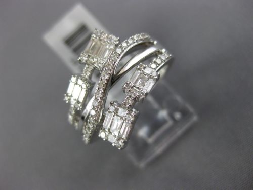 WIDE .69CT ROUND & BAGUETTE DIAMOND 14KT WHITE GOLD 3D SQUARE ANNIVERSARY RING