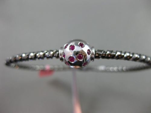 ESTATE 1.0CT AAA RUBY 14K WHITE & BLACK GOLD GLOBE ROPE FLEXIBLE BANGLE BRACELET