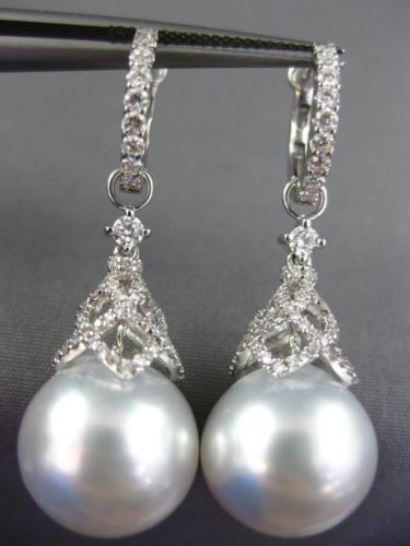 LARGE .95CT DIAMOND & SOUTH SEA PEARL 18KT WHITE GOLD FILIGREE HANGING EARRINGS
