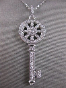 LARGE ESTATE .80CTW DIAMOND 14K WHITE GOLD HEART KEY PENDANT F/G VVS CHAIN 20160
