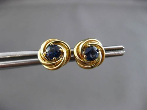 ANTIQUE .40CT AAA SAPPHIRE 14KT YELLOW GOLD 3D LOVE KNOT STUD EARRINGS #24414