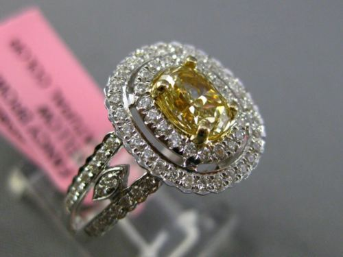 ESTATE LARGE GIA 1.14CT DIAMOND 18KT TWO TONE GOLD HALO FILIGREE ENGAGEMENT RING