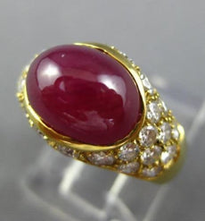 ESTATE 3.0CT DIAMOND & AAA CABOCHON RUBY 18K YELLOW GOLD CLASSIC ENGAGEMENT RING