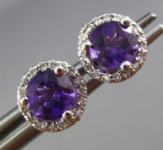 ESTATE 1.02CT DIAMOND & AAA AMETHYST 14K WHITE GOLD ROUND HALO CLASSIC EARRINGS