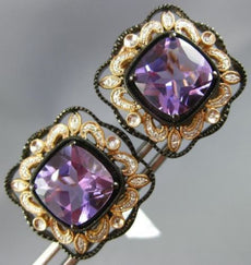LARGE 7.90CT DIAMOND & AAA AMETHYST 14K WHITE ROSE & BLACK GOLD CLIP ON EARRINGS