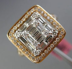 LARGE 1.70CT ROUND & BAGUETTE DIAMOND 18KT ROSE GOLD 3D SQUARE ENGAGEMENT RING