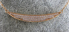 ESTATE .40CT DIAMOND 18KT ROSE GOLD ELONGATED SEMI OVAL HAPPY PAVE BAR NECKLACE