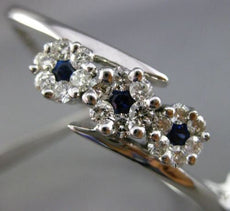 ESTATE WIDE 2.60CT DIAMOND & SAPPHIRE 14KT WHITE GOLD 3 FLOWER BANGLE BRACELET