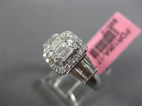 ESTATE 1.04CT ROUND & BAGUETTE DIAMOND 18KT WHITE GOLD CLUSTER SQUARE HALO RING