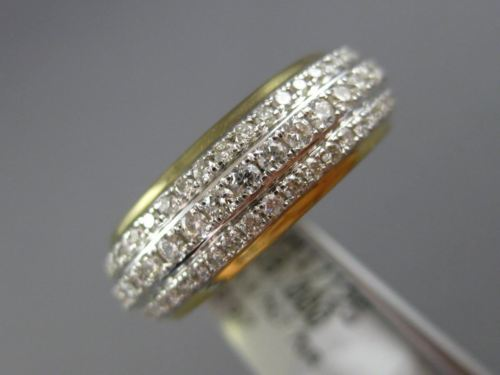 ESTATE WIDE 1.75CT DIAMOND 14KT YELLOW GOLD SEMI ETERNITY 3 ROW ANNIVERSARY RING