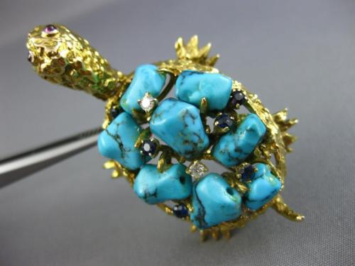 ESTATE WIDE 45.4CT DIAMOND & TURQUOISE 14K YELLOW GOLD HAPPY TURTLE PIN BROOCH