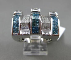 ESTATE EXTRA LARGE 2.56CT WHITE & BLUE DIAMOND 14KT WHITE GOLD PYRAMID MENS RING