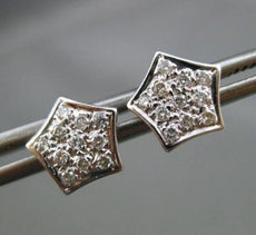 ESTATE .17CT DIAMOND 14KT WHITE GOLD 3D PENTAGON CROWN STUD EARRINGS 8mm WIDE