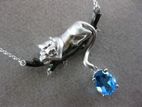 ESTATE 1.52CT DIAMOND & BLUE TOPAZ 14K 2 TONE GOLD HAPPY TIGER FLOATING NECKLACE