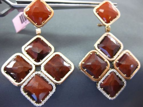 LARGE .80CT DIAMOND & TIGER EYE & QUARTZ 14KT ROSE GOLD SQUARE HANGING EARRINNGS