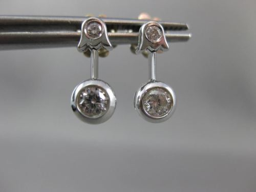 ANTIQUE .42CT DIAMOND SOLITAIRE FLOWER 18KT WHITE GOLD HANGING EARRINGS #16015