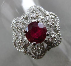 ESTATE LARGE 3CT ROUND DIAMOND & RUBY 18KT WHITE GOLD 3D FLOWER COCKTAIL RING