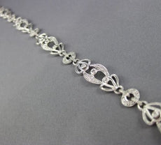 ESTATE WIDE & LONG .52CT DIAMOND 18KT WHITE GOLD ETOILE MILGRAIN TENNIS BRACELET