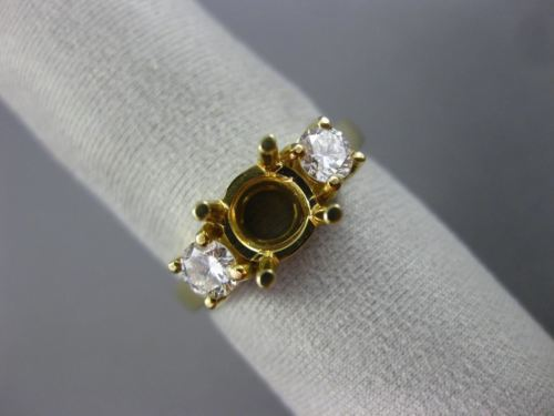 .44CT DIAMOND 14KT YELLOW GOLD THREE STONE ROUND SEMI MOUNT ENGAGEMENT RING 1552