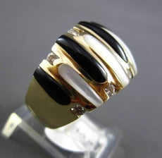 ESTATE LARGE 0.16CT DIAMOND 14KT YELLOW GOLD ONYX & MOTHER OF PEARL RING