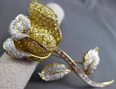 ANTIQUE LARGE 9.35CT DIAMONDS & TOPAZ 18KT TWO TONE GOLD FLOWER PIN BROOCH 21852