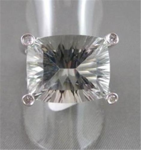 ESTATE WIDE 20.60CTW AAA GREEN AMETHYST & DIAMOND 14KT WHITE GOLD RING AMAZING!!