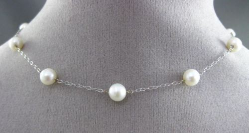 ESTATE AAA PEARL 14KT WHITE GOLD 3D BY THE YARD DIAMOND CUT NECKLACE #24945